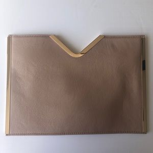 Tan/Blush and Gold Oversized ASOS Clutch